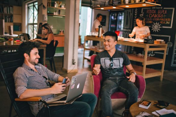 remote workers in a public space